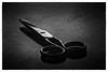 Scissors (markussipilä) Tags: household tools scissors sharp bw blackandwhite table scratch simple plain low key wood