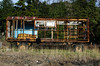 Broken car trailer. The house is rusted and destroyed (ivan_volchek) Tags: wood wooden outdoors rustic vintage train house farm abandoned nature old rusty travel visiting summer obsolete agriculture wagon rust destruction