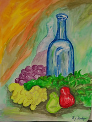 Mom's Blue Bottle Still Life (BKHagar *Kim*) Tags: bkhagar artday art painting paint acrylic watercolor watercolour bottle glass blue stilllife moms bjhardage