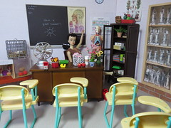 1. So long, everybody! (Foxy Belle) Tags: school classroom science biology barbie diorama desk 16 scale brick walls playscale ooak scene doll dollhouse vintage last day teacher