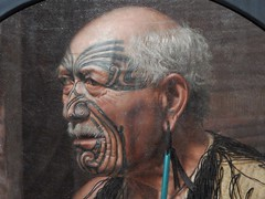 Maori Chieftain (mikecogh) Tags: auckland artgallery maori chief painting tattoos regal noble striking earring bald tamoko chieftain moustache