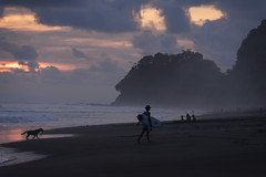 Sunset on playa hermosa, puntarenas, Costa Rica (glennlbphotography) Tags: costa rica playa hermosa beach pacific ocean waves surf surfer dog cloud sand clouds cloudy black puntarenas costarica playahermosa wave centralamerica pacifico