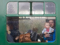 Hold on tight (Wendy G Davies) Tags: condensation window eyecontact rain efs24mm canon7dmark2 station steam vintage carriage train son father