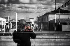 Life is now! (train station Estavayer-le-Lac) (Toni_V) Tags: m2407149 rangefinder digitalrangefinder messsucher leicam leica mp typ240 type240 35lux 35mmf14asphfle summiluxm estavayerlelac fribourg selectivecolors sep2 silverefexpro2 monochrome blackwhite bw lifeisnow me reflections sbb cff ffs switzerland schweiz suisse svizzera svizra europe ©toniv 2018 180407 selfie dof bokeh