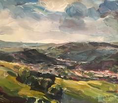 Rhondda Valley Wales (Captain Wakefield) Tags: n oil acrylic painting expressionist green art hills impressionist landscape burton samuel wales valley rhondda