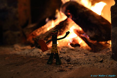 Friday Fire Buzz - Gumby Gets Hot (Walt Snyder) Tags: canoneos5dmkiii canonef1635mmf28liiusm abstract gumby fire surfing fireplace hell flames unaware