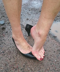 Puddle (newport50) Tags: barefeet bare barefoot sexyfeet sexybarefeet foot fetish messyfeet messy arched muddy puddle erotic ankles