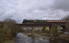 A1 Peppercorn Locomotive No.60163 'Tornado' coasting across the River Irwell at Summerseat, with the 12.25 fromRawtenstall to Heywood. East Lancs Railway 01 04 2018 (pnb511) Tags: elr eastlancsrailway lancashire bury gantry bridge river stone peir loco locomotive train engine rain wet steam track
