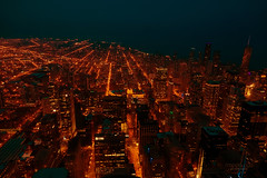 when the night comes ... (mariola aga) Tags: chicago willistower 103 floor night evening panorama view buildings street lights wideangle sky lake horizon dark darkness thegalaxy coth coth5