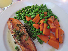 roasted salmon (kenjet) Tags: food eat meal eating dinner westhollywood restaurant foodporn salmon fish roastedsalmon peas carrots veggies vegetables