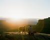 Mella and Mandi (darylovejr) Tags: pentax67 film 400h fuji fujifilm mediumformat lifestyle camping sunrise moab utah desert dog 6x7