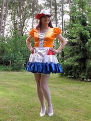 Legs and stockings (Paula Satijn) Tags: sexy hot dress skirt cute lovely sweet girl gurl tgirl tranny dutch red white blue orange garden outside hat frills ruffles sensual fun joy happy girly feminine legs stockings shiny silky silk smile adorable apron