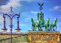 street lamp & sculpture (albyn.davis) Tags: berlin germany europe streetlamp sculpture sky art statue colors green golden brown travel