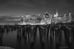 Lower Manhattan in Black and white (marinas8) Tags: nikon d5300 manhattan newyork night light city skyline sky water