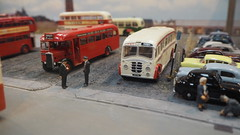 PMT Bus Parking, Bryan Street, Hanley. (ManOfYorkshire) Tags: bus buses coach parking area demolished houses rough ground bryanstreet bryanst hanley stokeontrent pmt potteries 176 accurate scale model oogauge diecast kitbuilt kits detailed realistic 1950s 1960s diorama