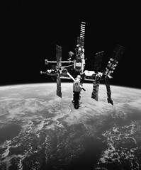 Russia's Mir space station is backdropped against Earth's horizon. Original from NASA. Digitally enhanced by rawpixel. (Free Public Domain Illustrations by rawpixel) Tags: publicdomain otherkeywords tags blackandwhite bw cc0 cosmos earth exploration future galaxy globe gravity grayscale greyscale hubble mir mirspacestation mission nasa operator orbit outer planet robotic roboticarm russia russian satellite science space spaceshuttlediscovery spacecraft technology universe