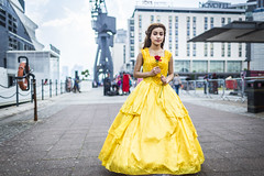 20180612_F0001: That Disney princess dressed in yellow (wfxue) Tags: mcmcomiccon londoncomiccon disney princess belle beautyandthebeast yellow gown red rose fictional character cosplay costume people portrait event