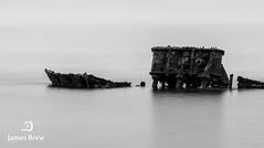 Sunk (www.jamesbrew.com) (James Brew (www.jamesbrew.com)) Tags: isleofman landscape landscapephotography britain uk blackwhite nature shipwreck longexposure coast sea beach jamesbrew