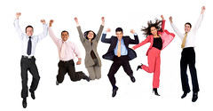 happy business people (eskypoint) Tags: business people group happy cheerful jumping success successful six arms up smiling smile isolated jump male men man woman women girls guys young adults multi racial person persons relaxed white background latin american entrepreneurs elegant smart team teamwork leadership colleagues office celebration celebrating