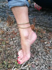 Gardening (newport50) Tags: rednails pointing arched ankles erotic barefoot barefeet foot fetish barefootinthegarden sexypose sexyfeet sexytraining pretty anklet fingers