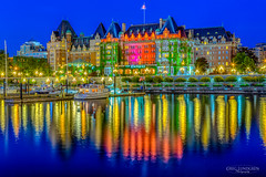 The Empress (Greg Lundgren Photography) Tags: empresshotel victoria britishcolumbia vancouverisland canada travel vacation harbor harbour reflection night lights architecture hotel historic wharf sailboat red yellow blue bluehour twilight hdr
