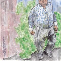 # 294 2018-06-20 (h e r m a n) Tags: herman illustratie tekening bock oosterhout zwembad 10x10cm 3651tekenevent tegeltje drawing illustration karton carton cardboard man male