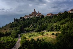 Piemonte, Italy (reinaroundtheglobe) Tags: piemonte italy rocchettapalafea landscape oldtown hill mountain road sunlight trees dramaticsky nopeople buildings forest winefields