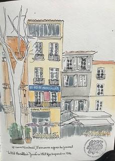 Aix en Provence, cours Mirabeau, l'immeuble du petit marseillais, ancien journal format 4 aquarelle