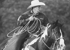 (emmett.hume) Tags: rodeo horse rider cowboy blackandwhite skill expertise cool command equine summer west tradition livestock riding lasso quarterhorse ranch 1025fav