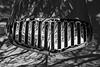 Metropolitan Hood Scoop (Thad Zajdowicz) Tags: zajdowicz pasadena california usa travel canon eos 5d3 5dmarkiii dslr digital availablelight lightroom outside outdoors chalkfestival carshow ef24105mmf4lisusm street urban city car automobile transportation vehicle dash scoop detail chrome fineart blackandwhite monochrome bw black white light shadow abstract lines shapes pattern texture smooth hood
