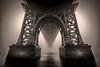 Williamsburg Bridge, New York (ADFitz1967) Tags: newyork williamsburgbridge eastriver water fog haze usa monochrome bridge blackandwhite