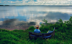 Waiting for you (free3yourmind) Tags: waiting wait relaxing relax serenity transquility lake bench girl clouds cloudy day water calm harmony reflections minsk belarus