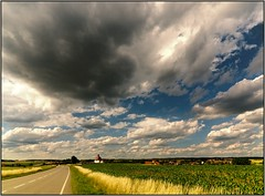 Big cloud over the famous village (piontrhouseselski) Tags: cz south moravia dalesice clouds sky church fields