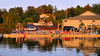 Pier, Tobermoray, Ontario (duaneschermerhorn) Tags: shore pier dock water colours colors colorful sunset boats buildings trees sky reflection reflective mirror distortion