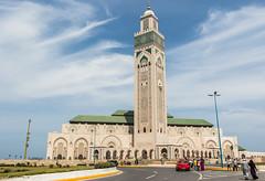 Hassan II Mosque, Casablanca (Adrià Páez) Tags: hassan ii mosque casablanca sky clouds architecture religious muslim islamic minaret city morocco maroc maghreb north africa canon eos 7d mark road street people