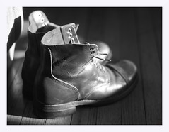 Boots in Morning Light (photo_secessionist) Tags: boots military light naturallight blackwhite bw bn contrast pentax kmount km pentaxdaf35561855mmallens pentaxart