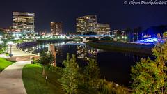 Looking towards Main Street Bridge, Columbus, Ohio (vdwarkadas) Tags: city bridge bridges mainstreetbridge broadstreetbridge night nightscape columbus ohio sony sonya6000 sonyilce6000 waterscape