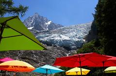 Glacier and parasols. Aiguille du Midi and Glacier des Bossons. Chamonix. (elsa11) Tags: glacierdesbossons chaletduglacierdesbossons laiguilledumidi montblancmassif montblancrange glacier gletscher gletsjer hautesavoie chamonix alps alpes alpen auvergnerhonealpes