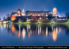 Poland - Krakow - UNESCO - Wawel Royal Castle reflected in Wisla River - Dusk - Twilight - Blue Hour (© Lucie Debelkova / www.luciedebelkova.com) Tags: krakow cracow poland polish polska republicofpoland rzeczpospolitapolska pologne polonia polsko country europe centraleurope easterneurope europeanunion architecture arquitectura architettura architektura building buildingexterior build town ville cité urban urbain artistic historical street structure art kunst arte monument design casa haus maison business estate site urbanscene scene location cities cityscape cityscapes house houses landmark landmarks outdoor outdoors outside urbanlandscape urbanlandscapes illuminate illuminated illumination river water waterscape reflection city dusk twilight night
