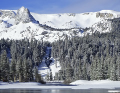 Crystal Crag and Double Falls, Mammoth Lakes, CA 2017 (inkknife_2000 (9 million views)) Tags: mammothca springsnowstorm treeswithsnow sierranevadarange freshsnowonground waterreflection usa landscape snow dgraham photo california newsnow morningsnow twinlakes crystalcrag forest iceonlake trees pines firs waterreflections skyandclouds lakes footbridge ice