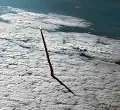 Launch of Endeavour on STS134, variant (sjrankin) Tags: 15april2018 edited nasa sts134 endeavour launch rocket shadow plume ocean atlanticocean 2011