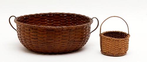 Loop Handle Sewing Basket ($95.20) and Rockingham County Miniature Splint Oak Basket ($78.40)