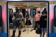Train photographer (AntEater Theater) Tags: photographers costumes cameras army camouflage military mrt beitou metro taipei taiwan streetphotography