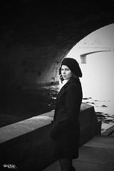 """Portrait - Laeti - 005 (david """"Djannis"""") Tags: seine quai paris posed pose girl lady female cute beautiful woman model portrait noir blanc black white monochrome pont bridge fleuve eau"""