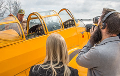 Owner/Pilot Timothy Trimble Discusses His Fairchild Cornell II PT-26-B Primary Trainer (N79307) with British Forces Television at the Great British Fly-In (scattered1) Tags: 100thanniversary 2018 bfbs british britishforces britishforcesbroadcastingservice britishforcestelevision chantilly cornell cradleofheroes dfc distinguishedflyingcross fairchild fairchildcornellii flightlieutenant greatbritain greatbritishflyin museum nationalairandspacemuseum pt26 pt26b raf rcaf richardboyd royalairforce royalcanadianairforce smithsonianinstitution stevenfudvarhazycenter tv udvarhazycenter va virginia worldwarii airforce airplane antique aviation camera cameraman classic cradle event flyin heroes historic history interview military old pilot plane primarytrainer recording reporter trainer videographer yellow