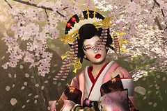 Scattered (LiangScorpio) Tags: oiran sl cherryblossom sakura kimono kanzashi petals poem