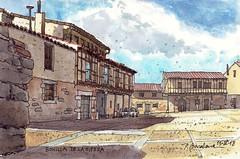 Bonilla de la Sierra (P.Barahona) Tags: urbano rural plaza soportales acuarela watercolour pluma tinta ink arquitectura puertas ventanas entramado