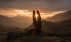 Valley of The Sun God (Katherine Fotheringham) Tags: valley sun god praying hand mary scotland sunburst sunrise glen lyon