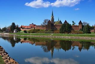 Nymburk, the city walls and the church of St. Jiljí