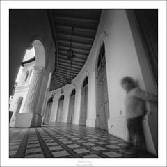 Leaning (eetuaspl) Tags: pinhole mediumformat zero2000 fujineopanacros100 epsonv550 darkroom 13 id11 silvergelatineprint singaporeartmuseum